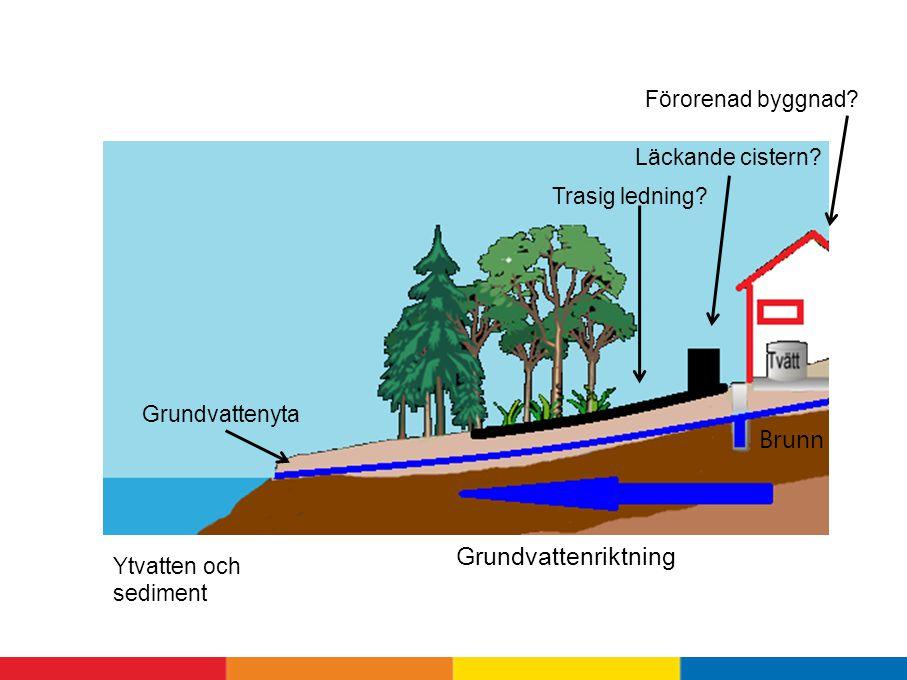Förorenad byggnad.Grundvattenriktning Grundvattenyta Trasig ledning.