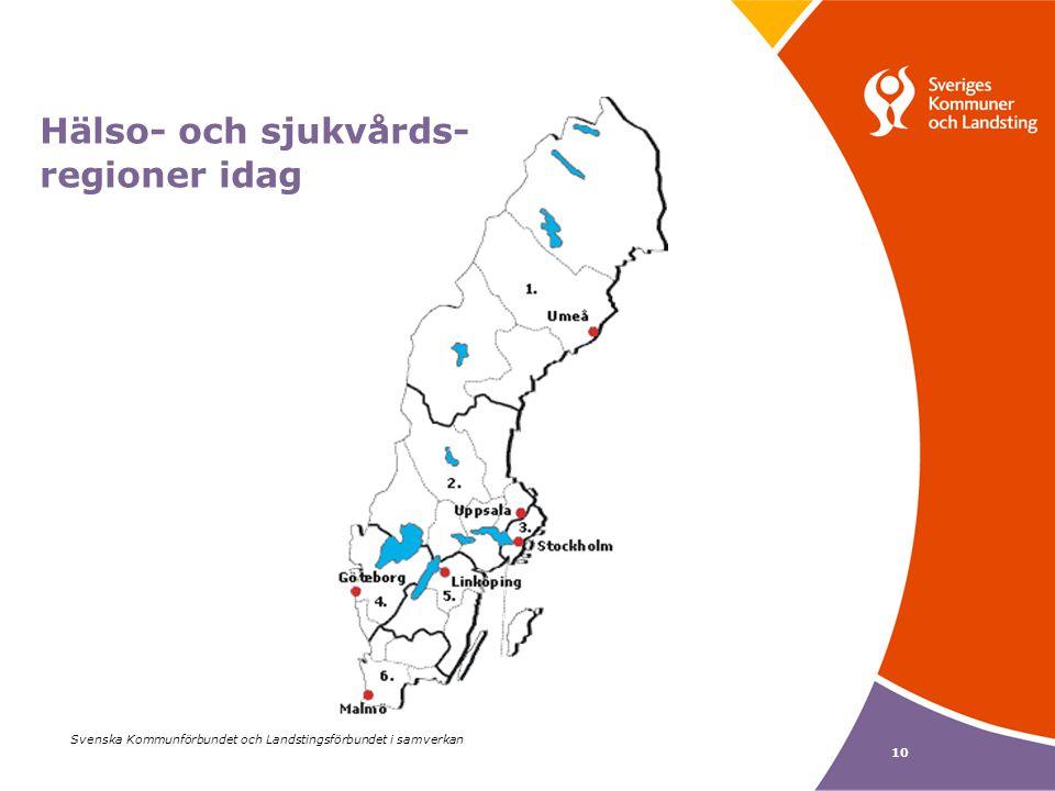 Svenska Kommunförbundet och Landstingsförbundet i samverkan 10 Hälso- och sjukvårds- regioner idag