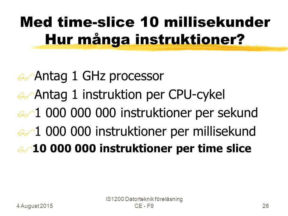 4 August 2015 IS1200 Datorteknik föreläsning CE - F926 Med time-slice 10 millisekunder Hur många instruktioner.