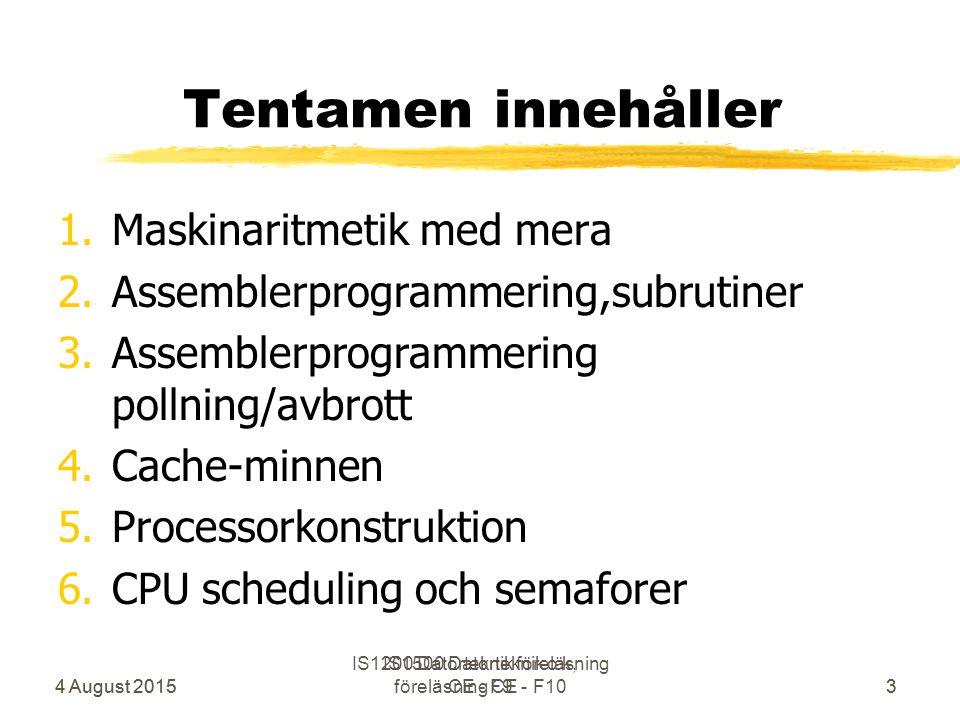 4 August 2015 IS1500 Datorteknik o k, föreläsning CE - F103 Tentamen innehåller 1.Maskinaritmetik med mera 2.Assemblerprogrammering,subrutiner 3.Assemblerprogrammering pollning/avbrott 4.Cache-minnen 5.Processorkonstruktion 6.CPU scheduling och semaforer 4 August 2015 IS1200 Datorteknik föreläsning CE - F93