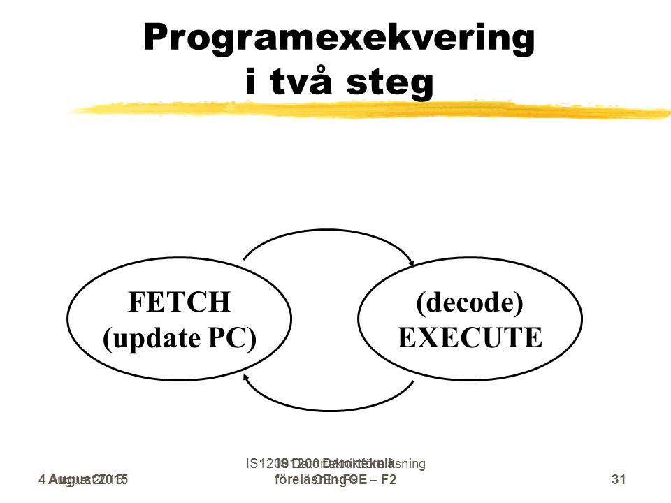 Programexekvering i två steg (decode) EXECUTE FETCH (update PC) 4 August 201531 IS1200 Datorteknik föreläsning CE – F2 4 August 2015 IS1200 Datorteknik föreläsning CE - F931