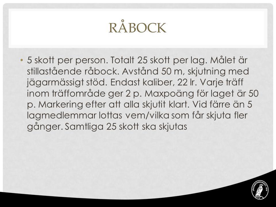RÅBOCK 5 skott per person. Totalt 25 skott per lag.