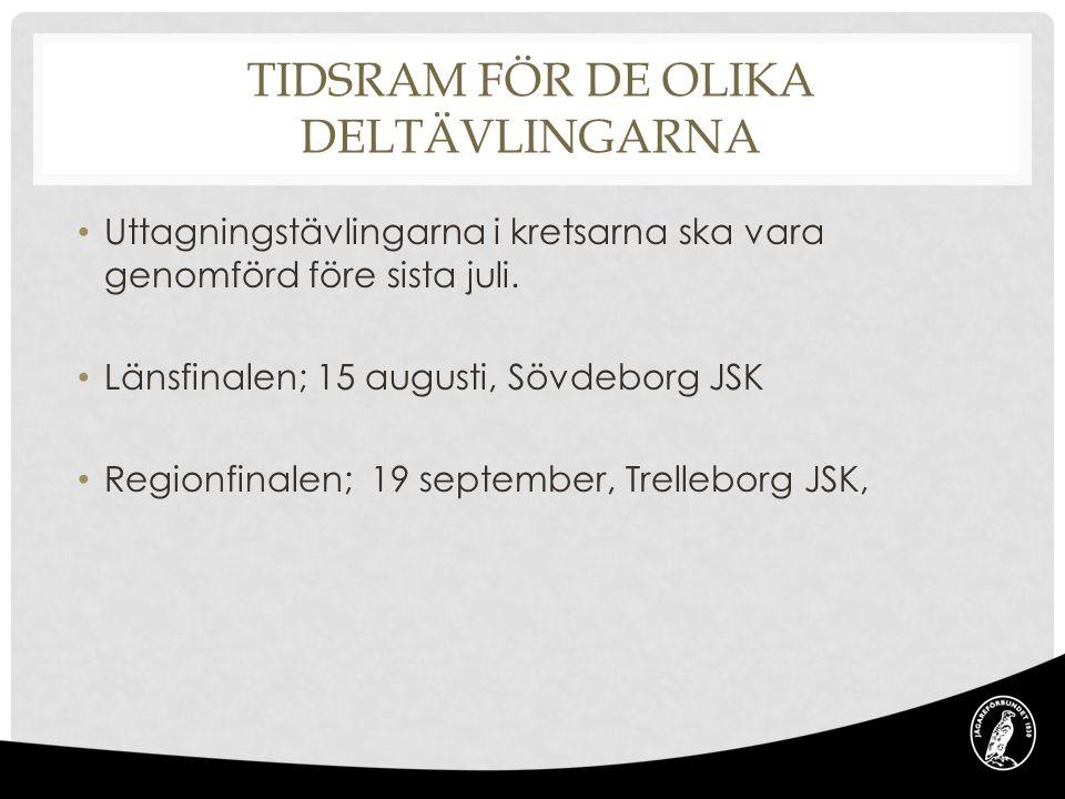 TIDSRAM FÖR DE OLIKA DELTÄVLINGARNA Uttagningstävlingarna i kretsarna ska vara genomförd före sista juli. Länsfinalen; 15 augusti, Sövdeborg JSK Regio