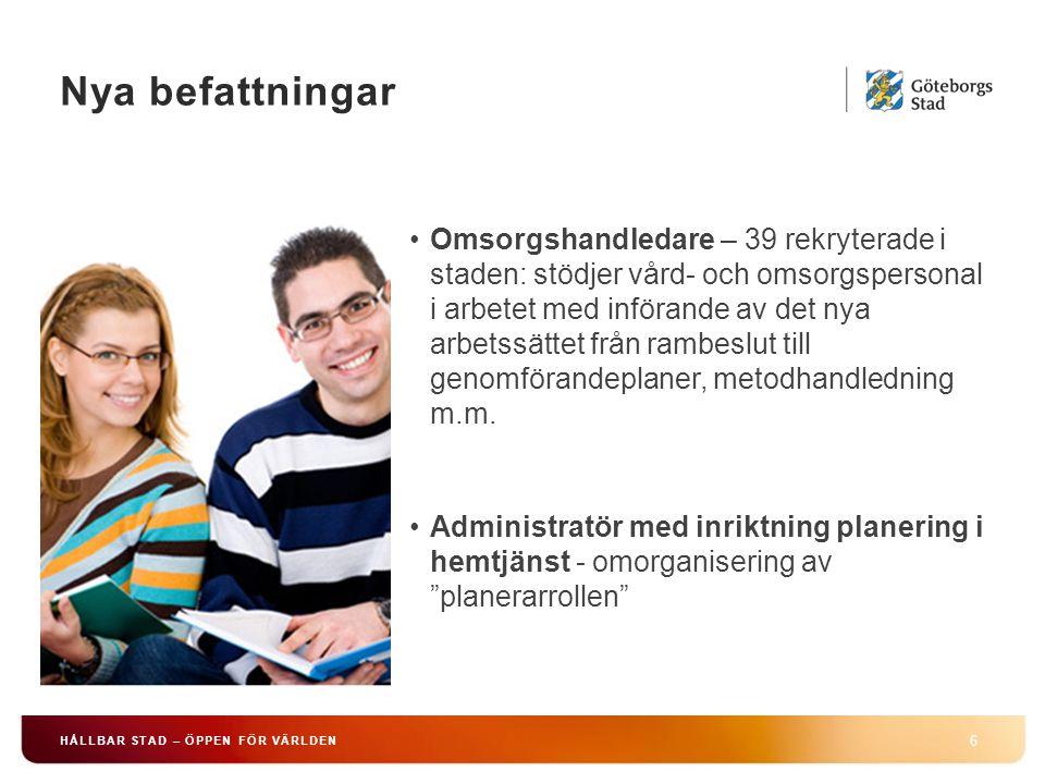 Chefsförsörjningsplan 7 HÅLLBAR STAD – ÖPPEN FÖR VÄRLDEN Några exempel på de prioriterade utvecklingsområdena : –Att vara attraktiv arbetsgivare……… –Att behålla, attrahera och utveckla nya chefer –Att leda förändringsarbete Handlingsplan för att förbättra arbetsvillkoren och arbetsmiljön inom äldreomsorg Handlingsplan för arbetsmiljö