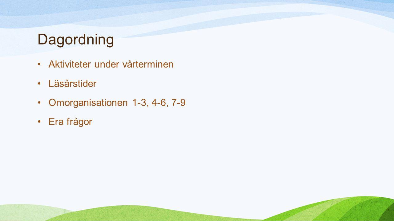 Dagordning Aktiviteter under vårterminen Läsårstider Omorganisationen 1-3, 4-6, 7-9 Era frågor