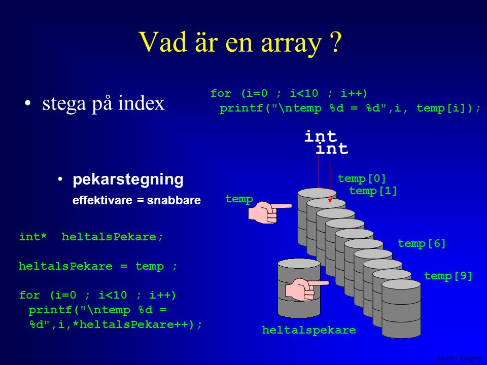 Anders Sjögren Vad är en array .