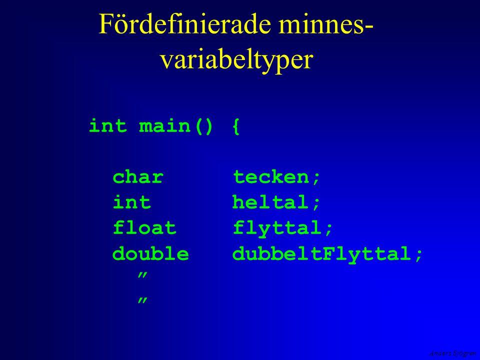 """Anders Sjögren Fördefinierade minnes- variabeltyper int main() { chartecken; intheltal; floatflyttal; doubledubbeltFlyttal; """""""