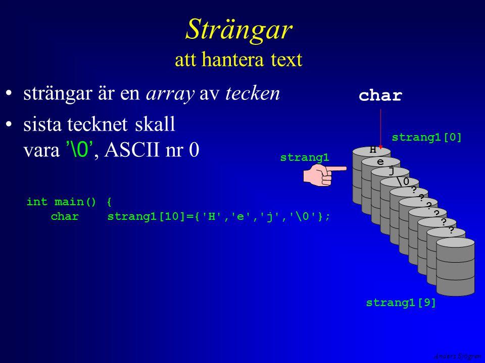 Anders Sjögren Strängar att hantera text strängar är en array av tecken sista tecknet skall vara '\0', ASCII nr 0 strang1 strang1[0] char H e j \0 .