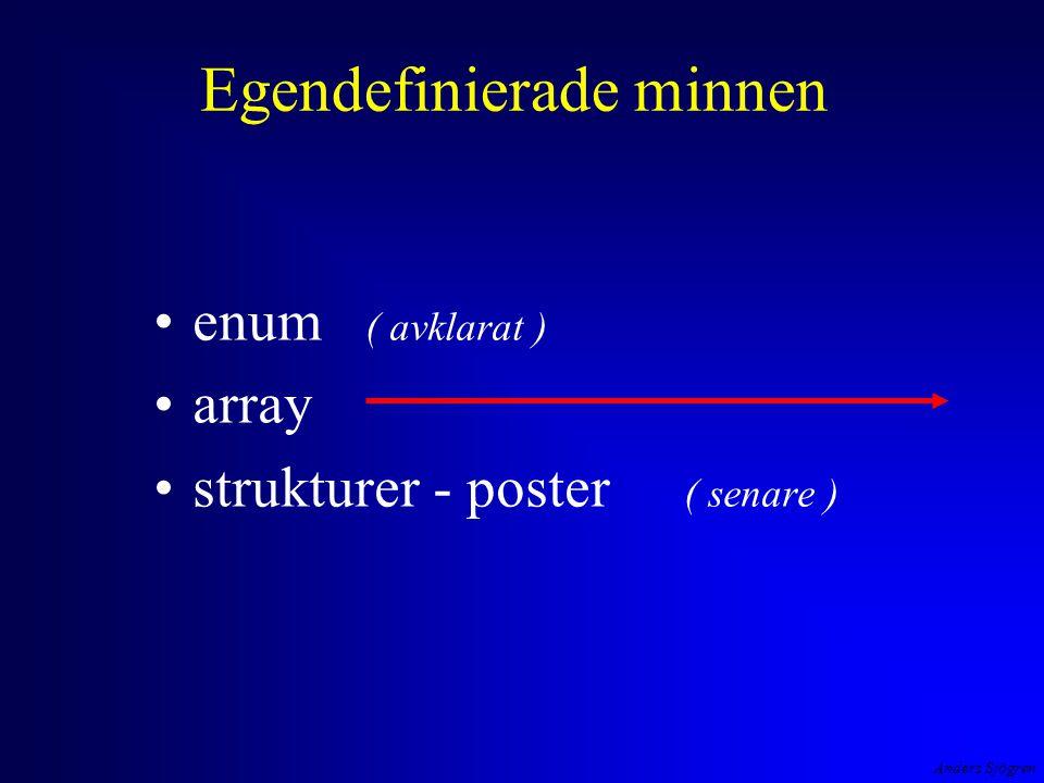 Anders Sjögren Egendefinierade minnen enum ( avklarat ) array strukturer - poster ( senare )