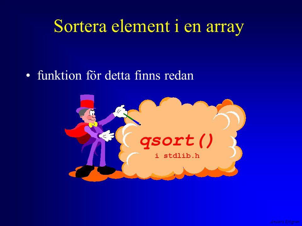Anders Sjögren Sortera element i en array funktion för detta finns redan qsort() i stdlib.h