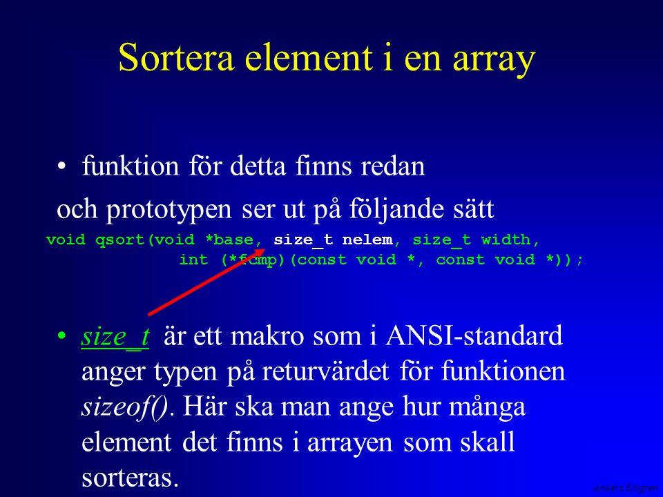 Anders Sjögren Sortera element i en array funktion för detta finns redan och prototypen ser ut på följande sätt size_t är ett makro som i ANSI-standar