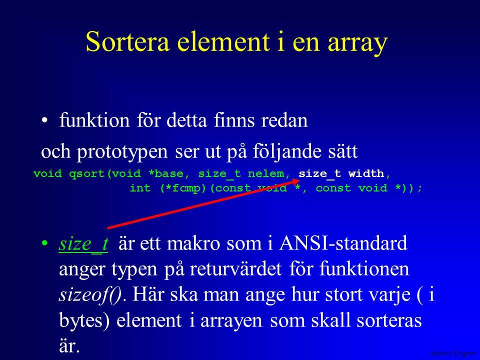 Anders Sjögren Sortera element i en array funktion för detta finns redan och prototypen ser ut på följande sätt size_t är ett makro som i ANSI-standard anger typen på returvärdet för funktionen sizeof().