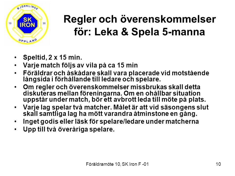 Föräldramöte 10, SK Iron F -0110 Speltid, 2 x 15 min.