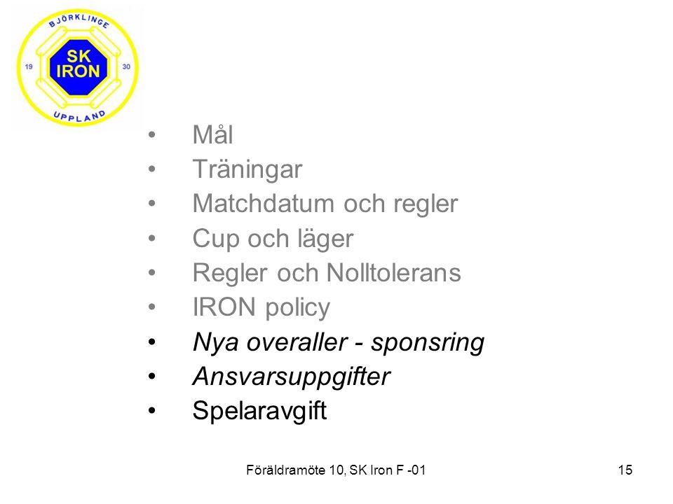 Föräldramöte 10, SK Iron F -0115 Mål Träningar Matchdatum och regler Cup och läger Regler och Nolltolerans IRON policy Nya overaller - sponsring Ansvarsuppgifter Spelaravgift