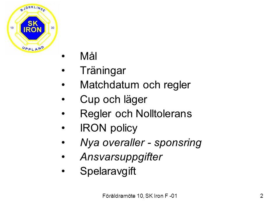 Föräldramöte 10, SK Iron F -012 Mål Träningar Matchdatum och regler Cup och läger Regler och Nolltolerans IRON policy Nya overaller - sponsring Ansvarsuppgifter Spelaravgift