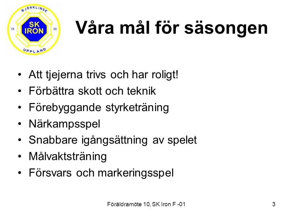 Föräldramöte 10, SK Iron F -013 Våra mål för säsongen Att tjejerna trivs och har roligt.