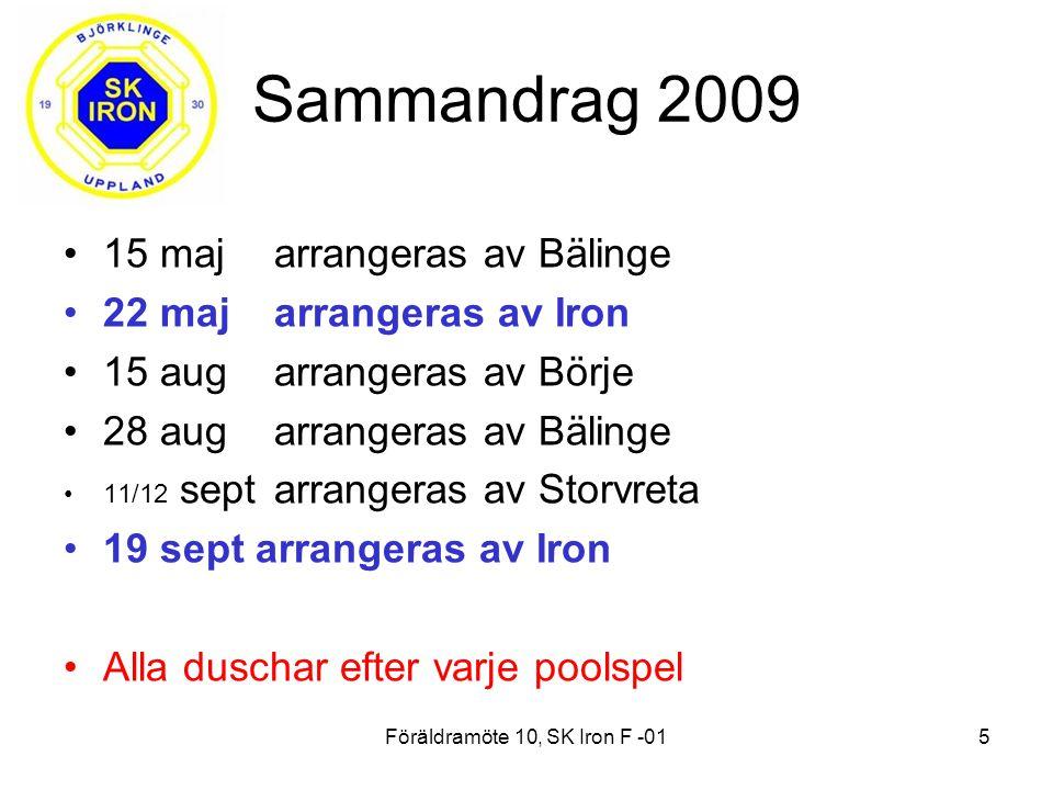 Föräldramöte 10, SK Iron F -015 Sammandrag 2009 15 majarrangeras av Bälinge 22 majarrangeras av Iron 15 augarrangeras av Börje 28 augarrangeras av Bälinge 11/12 sept arrangeras av Storvreta 19 sept arrangeras av Iron Alla duschar efter varje poolspel