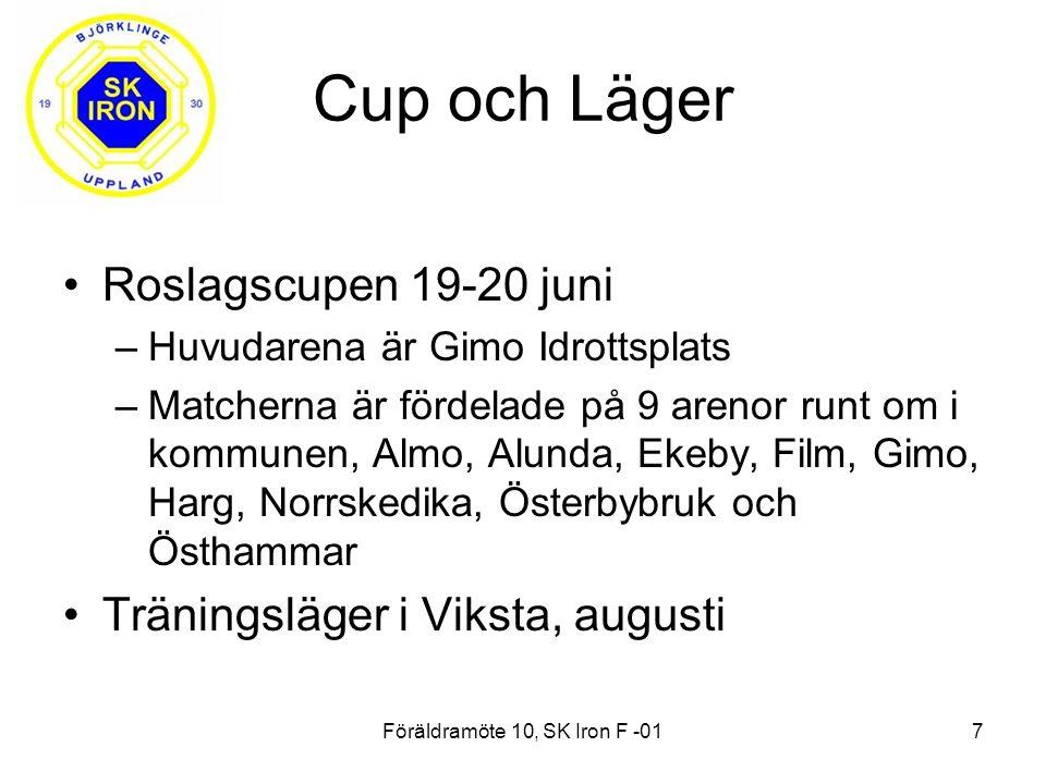Cup och Läger Roslagscupen 19-20 juni –Huvudarena är Gimo Idrottsplats –Matcherna är fördelade på 9 arenor runt om i kommunen, Almo, Alunda, Ekeby, Film, Gimo, Harg, Norrskedika, Österbybruk och Östhammar Träningsläger i Viksta, augusti Föräldramöte 10, SK Iron F -017