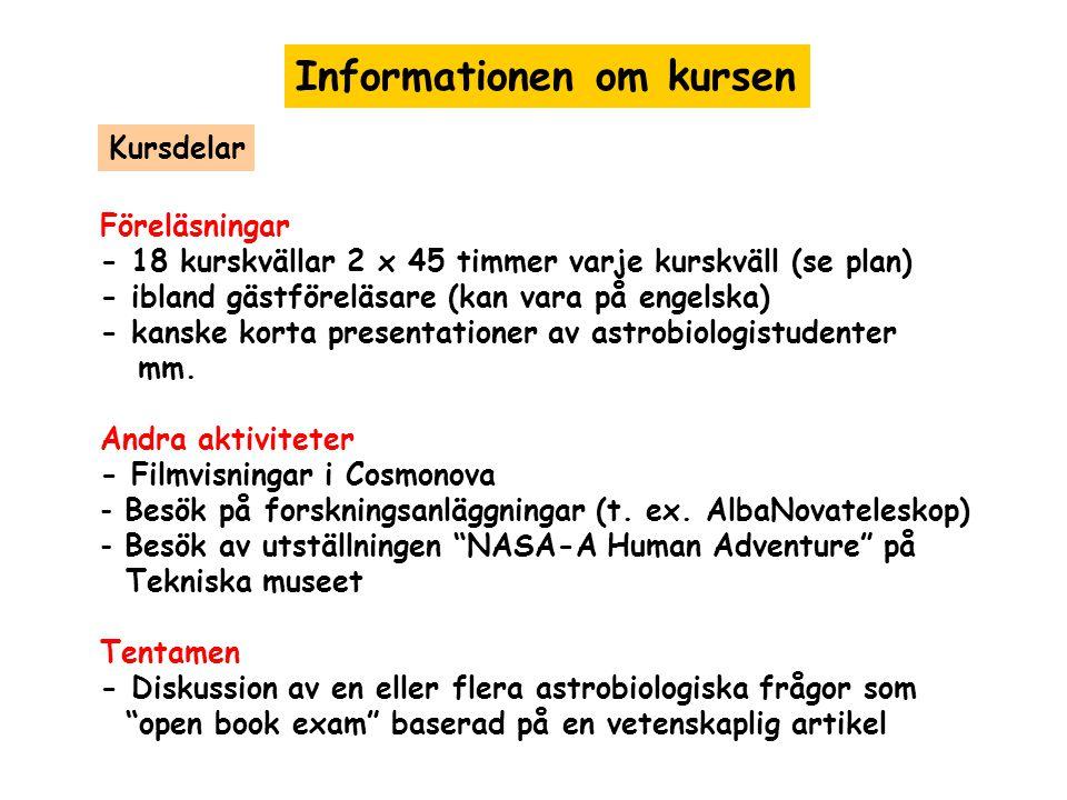 Informationen om kursen Föreläsningar - 18 kurskvällar 2 x 45 timmer varje kurskväll (se plan) - ibland gästföreläsare (kan vara på engelska) - kanske