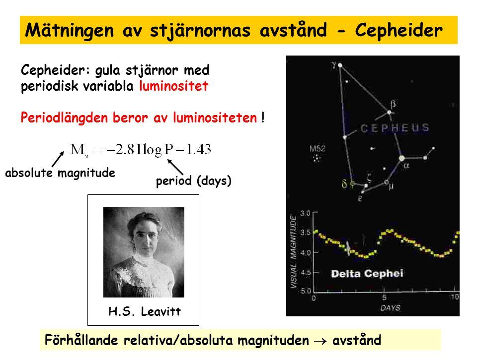 H.S. Leavitt Mätningen av stjärnornas avstånd - Cepheider Cepheider: gula stjärnor med periodisk variabla luminositet Periodlängden beror av luminosit