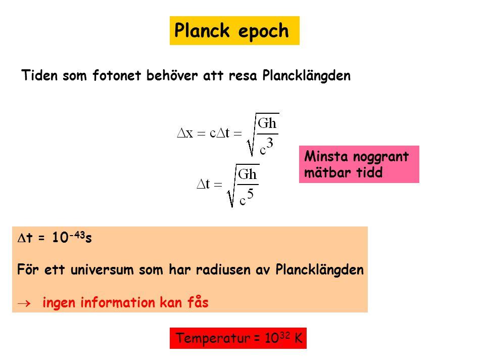 Planck epoch Tiden som fotonet behöver att resa Plancklängden  t = 10 -43 s För ett universum som har radiusen av Plancklängden  ingen information k