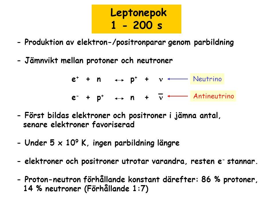 Leptonepok 1 - 200 s - Produktion av elektron-/positronparar genom parbildning - Jämnvikt mellan protoner och neutroner e + + n p + + e - + p + n + -
