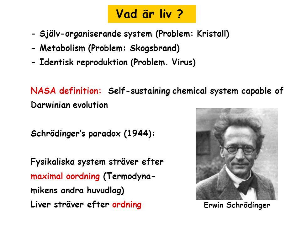 Vad är liv ? - Själv-organiserande system (Problem: Kristall) - Metabolism (Problem: Skogsbrand) - Identisk reproduktion (Problem. Virus) NASA definit
