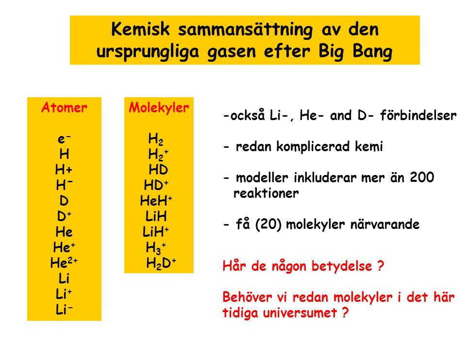 Kemisk sammansättning av den ursprungliga gasen efter Big Bang Atomer e − H H+ H − D D + He He + He 2+ Li Li + Li − Molekyler H 2 H 2 + HD HD + HeH +