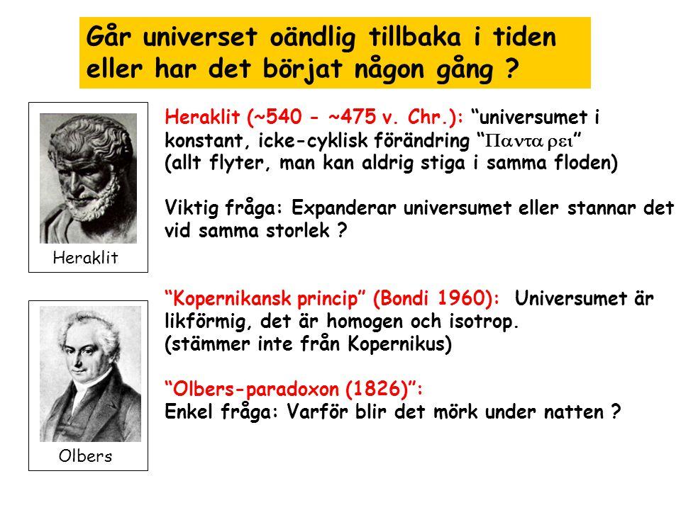 Nukleosyntesepoken 200 - 1200s - Efte de första 200 s har vi nu det viktigaste byggstenar av atomer protoneringa atomer neutroneringa atomkärnor elektroner - Bildning av deuteriumkärnor (1 proton 1 neutron) möjlig: p + + n  D + + h  Men: Över 10 9 K omvända reaktionen mycket efficient D + + h   p + + n Efter 200 s: Universumet är kyl nog för överlevnad av D (Gamov 1948)