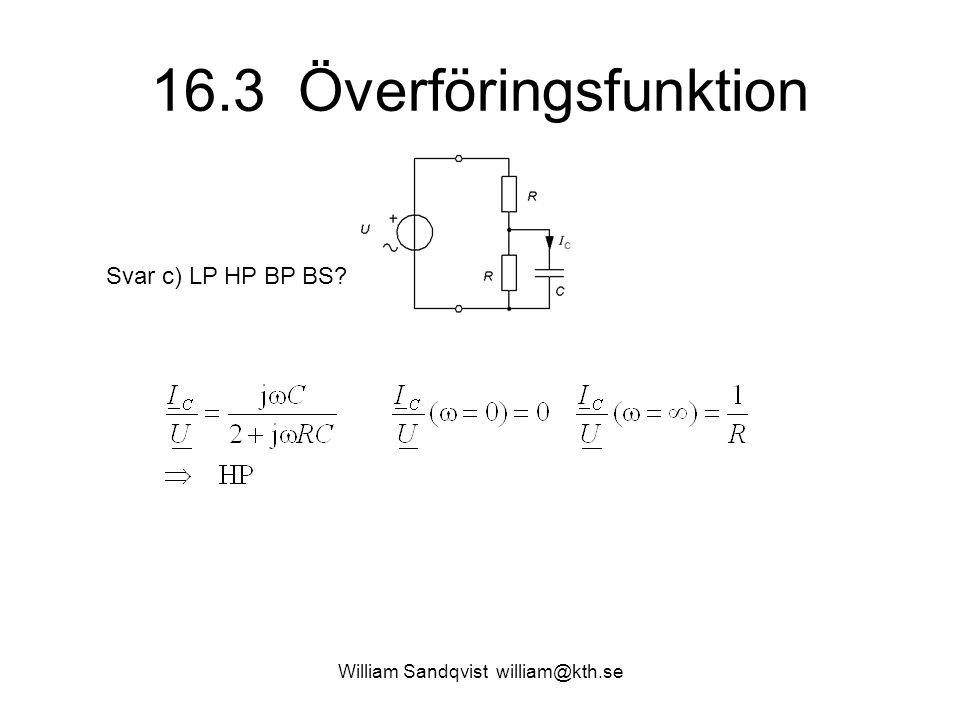 William Sandqvist william@kth.se 16.3 Överföringsfunktion Svar d) Gränsfrekvens.