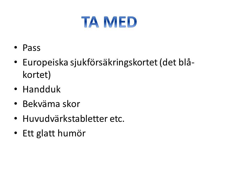 Pass Europeiska sjukförsäkringskortet (det blå- kortet) Handduk Bekväma skor Huvudvärkstabletter etc.