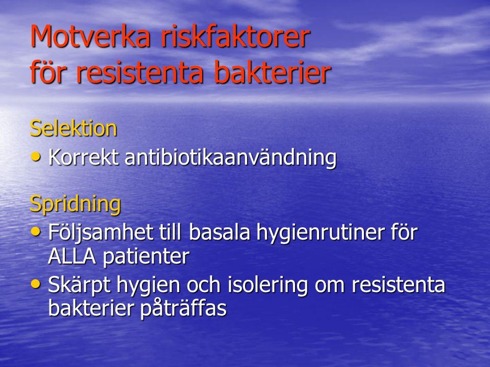 Motverka riskfaktorer för resistenta bakterier Selektion Korrekt antibiotikaanvändning Korrekt antibiotikaanvändningSpridning Följsamhet till basala h