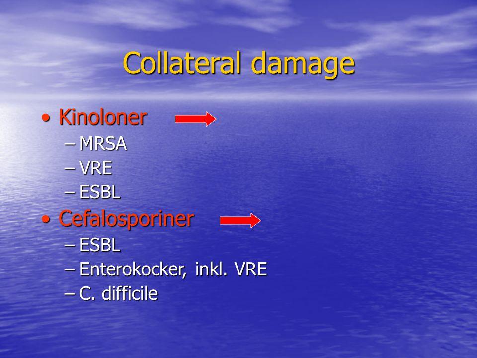 Collateral damage KinolonerKinoloner –MRSA –VRE –ESBL CefalosporinerCefalosporiner –ESBL –Enterokocker, inkl. VRE –C. difficile