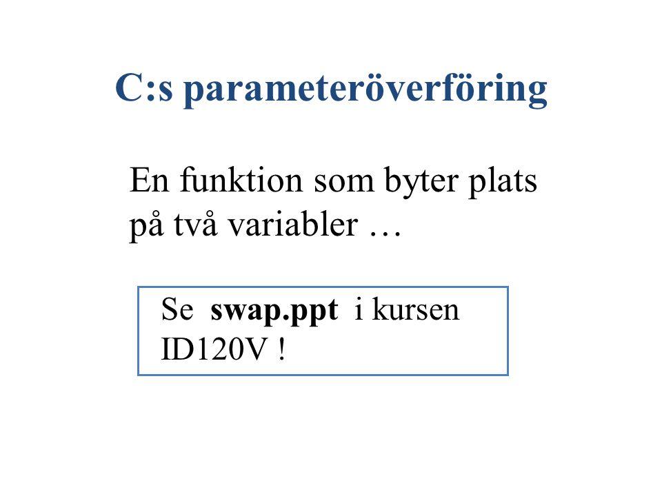 C:s parameteröverföring En funktion som byter plats på två variabler … Se swap.ppt i kursen ID120V !