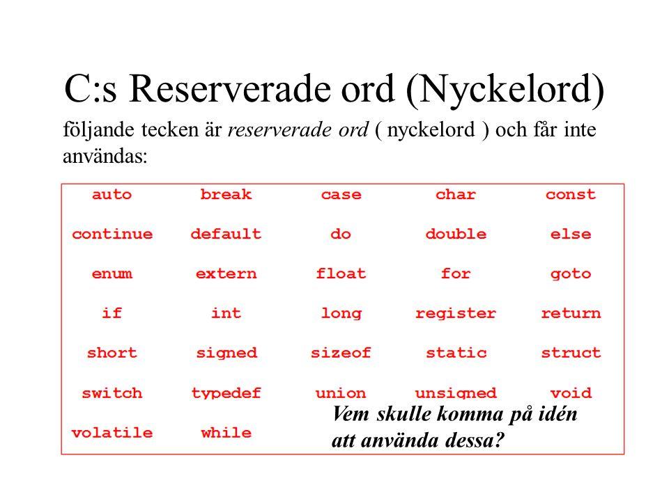 C:s Reserverade ord (Nyckelord) följande tecken är reserverade ord ( nyckelord ) och får inte användas: Vem skulle komma på idén att använda dessa