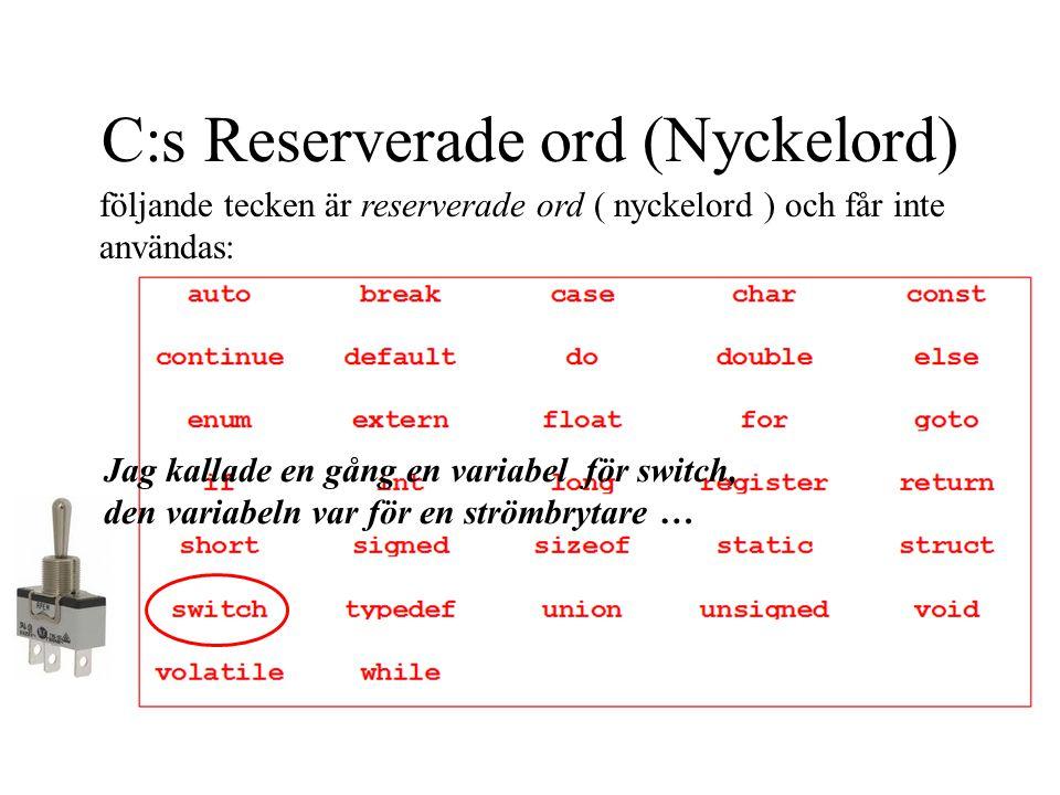 C:s Reserverade ord (Nyckelord) följande tecken är reserverade ord ( nyckelord ) och får inte användas: Jag kallade en gång en variabel för switch, den variabeln var för en strömbrytare …