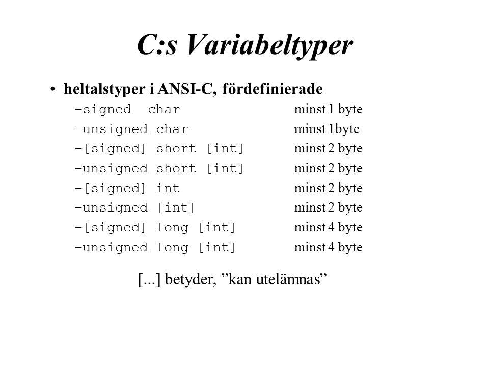 C:s Variabeltyper [...] betyder, kan utelämnas heltalstyper i ANSI-C, fördefinierade –signedchar minst 1 byte –unsigned char minst 1byte –[signed] short [int] minst 2 byte –unsigned short [int] minst 2 byte –[signed] int minst 2 byte –unsigned [int] minst 2 byte –[signed] long [int] minst 4 byte –unsigned long [int] minst 4 byte
