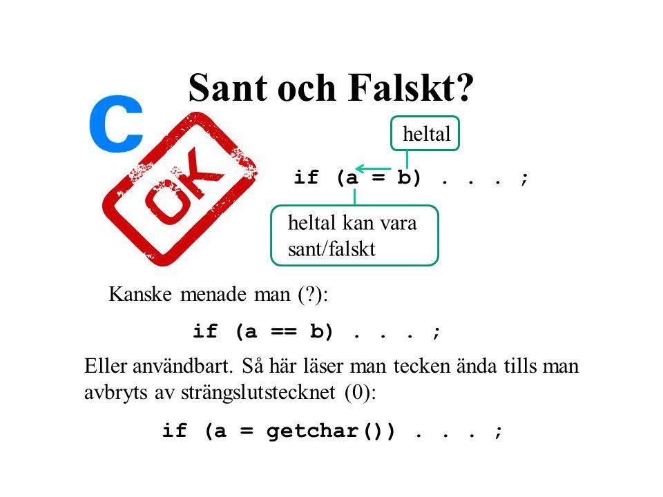 Sant och Falskt. if (a = b)... ; heltal heltal kan vara sant/falskt if (a == b)...