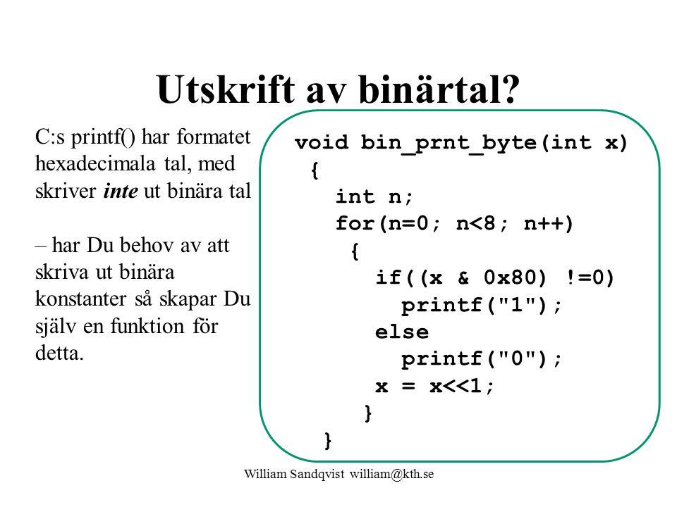 Utskrift av binärtal.