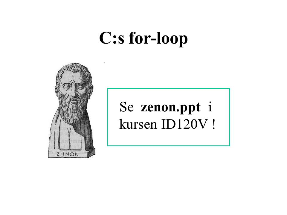 C:s for-loop Se zenon.ppt i kursen ID120V !
