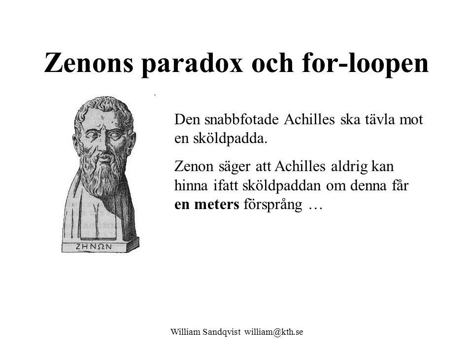 Zenons paradox och for-loopen Den snabbfotade Achilles ska tävla mot en sköldpadda.