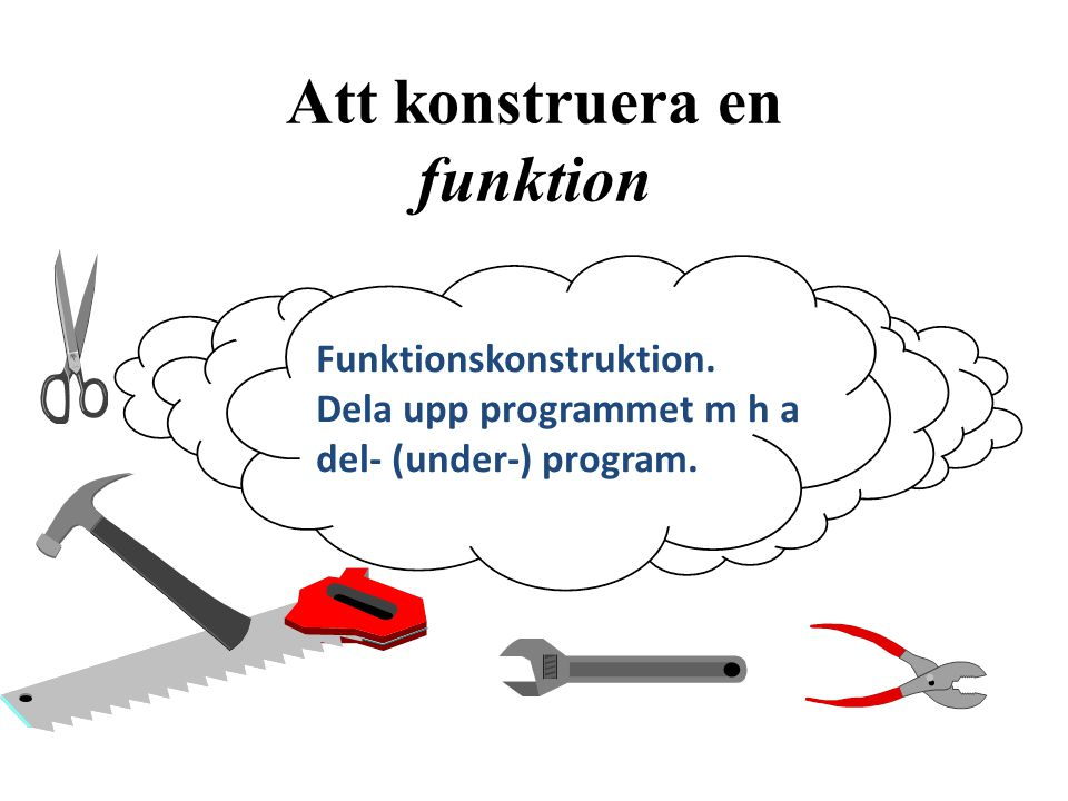 Att konstruera en funktion Funktionskonstruktion. Dela upp programmet m h a del- (under-) program.