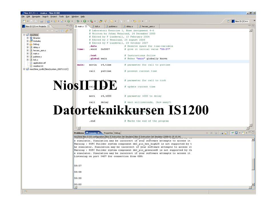 NiosII IDE Datorteknikkursen IS1200