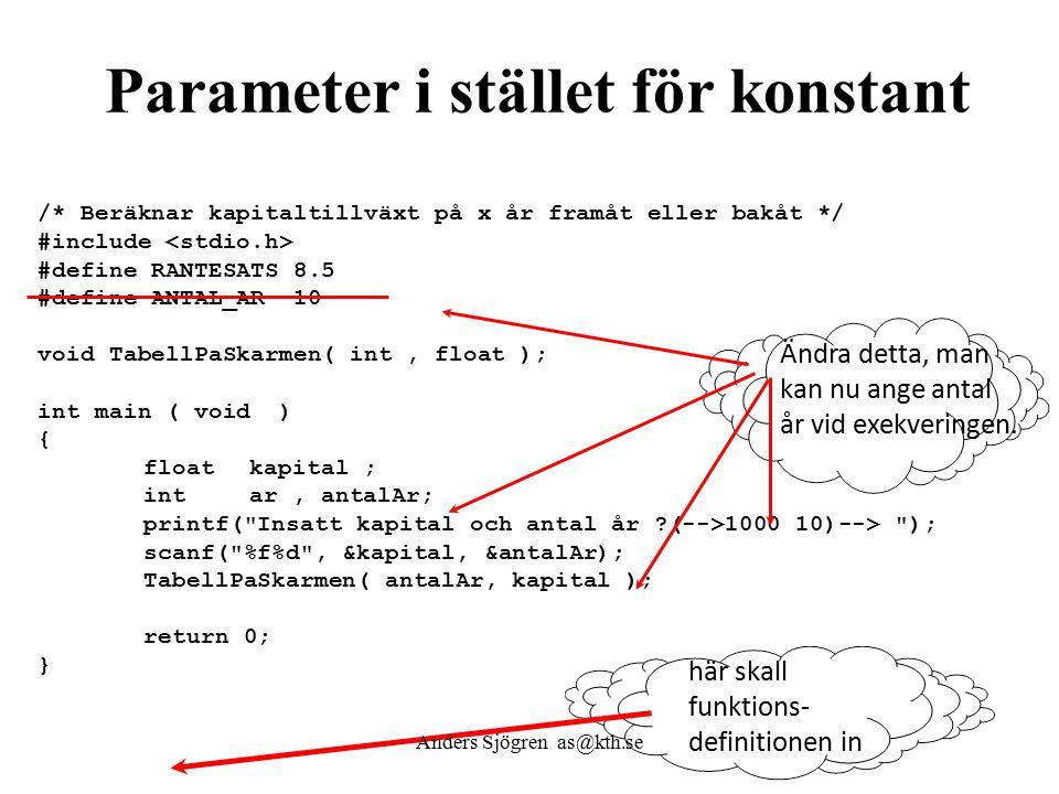 Parameter i stället för konstant här skall funktions- definitionen in /* Beräknar kapitaltillväxt på x år framåt eller bakåt */ #include #define RANTESATS 8.5 #define ANTAL_AR 10 void TabellPaSkarmen( int, float ); int main ( void ) { floatkapital ; intar, antalAr; printf( Insatt kapital och antal år (-->1000 10)--> ); scanf( %f%d , &kapital, &antalAr); TabellPaSkarmen( antalAr, kapital ); return 0; } Ändra detta, man kan nu ange antal år vid exekveringen.