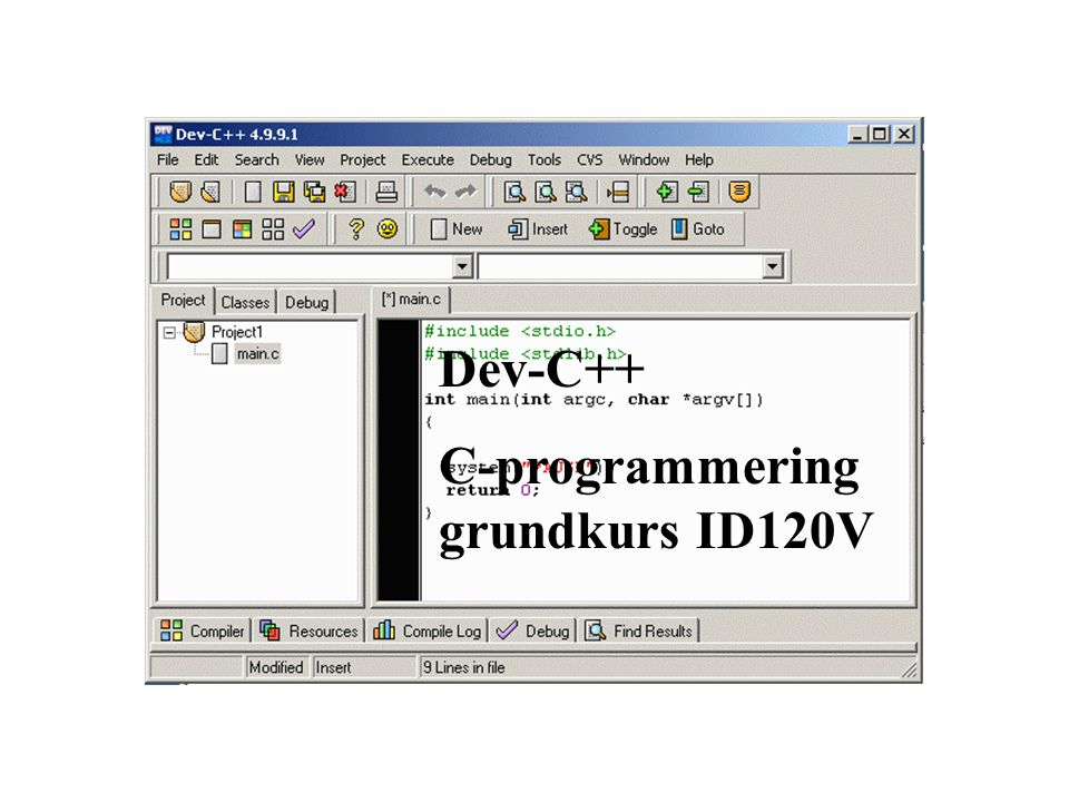Dev-C++ C-programmering grundkurs ID120V