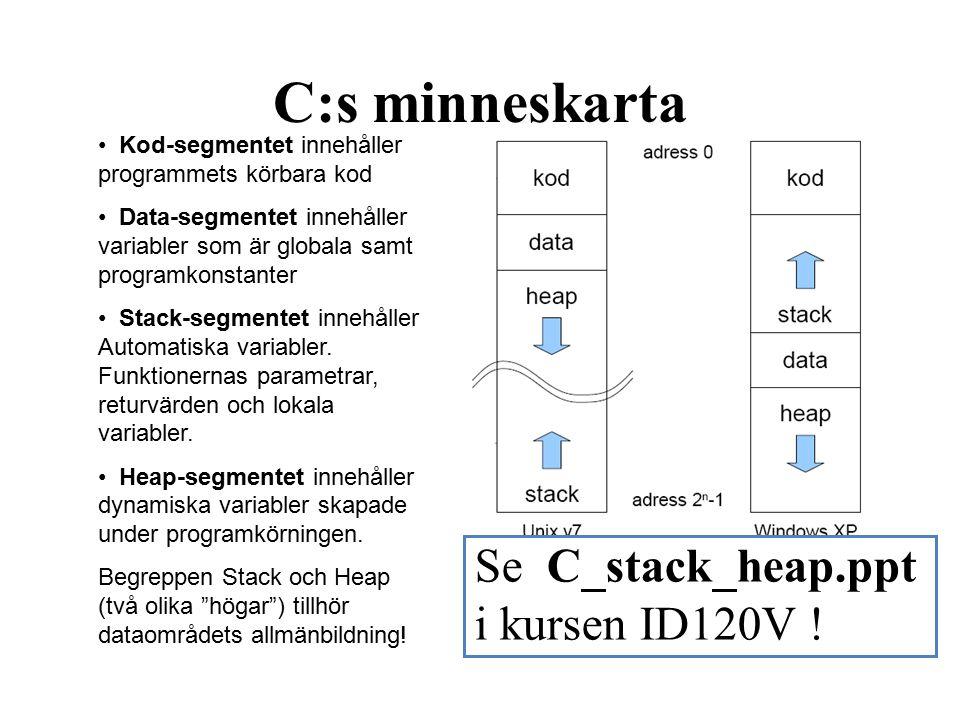 C:s minneskarta Kod-segmentet innehåller programmets körbara kod Data-segmentet innehåller variabler som är globala samt programkonstanter Stack-segmentet innehåller Automatiska variabler.