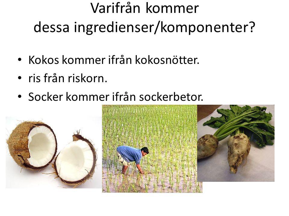 Varifrån kommer dessa ingredienser/komponenter. Kokos kommer ifrån kokosnötter.