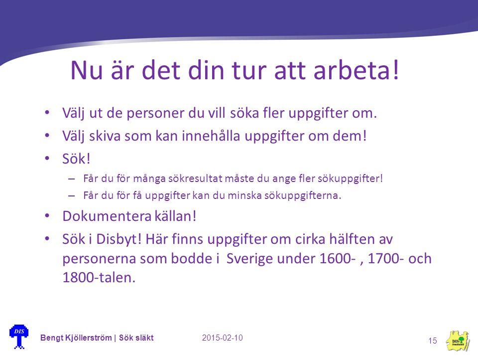 Bengt Kjöllerström | Sök släkt2015-02-10 15 Nu är det din tur att arbeta! Välj ut de personer du vill söka fler uppgifter om. Välj skiva som kan inneh