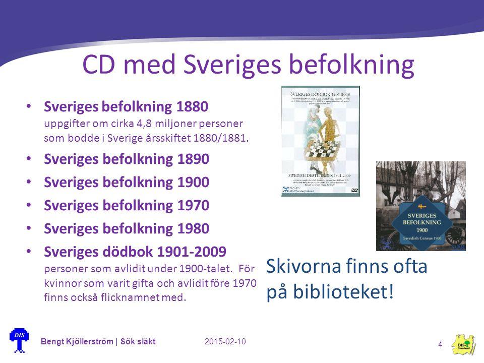 Bengt Kjöllerström | Sök släkt2015-02-10 4 CD med Sveriges befolkning Sveriges befolkning 1880 uppgifter om cirka 4,8 miljoner personer som bodde i Sv