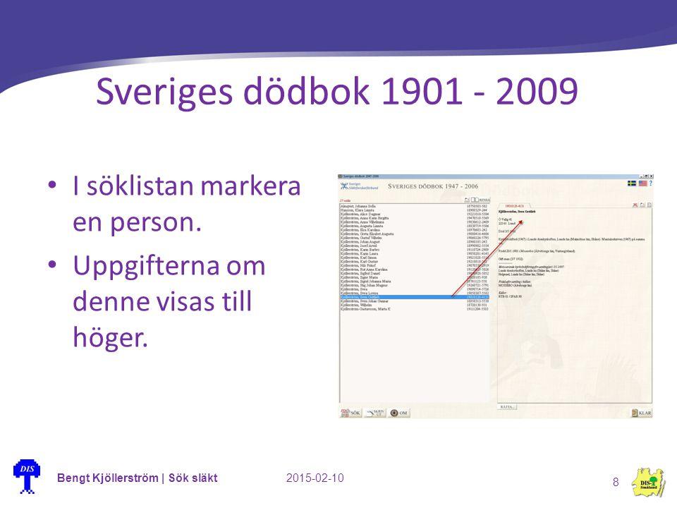 Bengt Kjöllerström | Sök släkt2015-02-10 8 Sveriges dödbok 1901 - 2009 I söklistan markera en person. Uppgifterna om denne visas till höger.